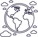 earth with weather clouds icon